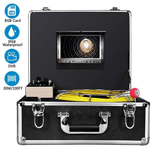 Caméra d'inspection de drain, IHBUDS Endoscope Industriel pour tuyaux d'égout avec enregistreur...