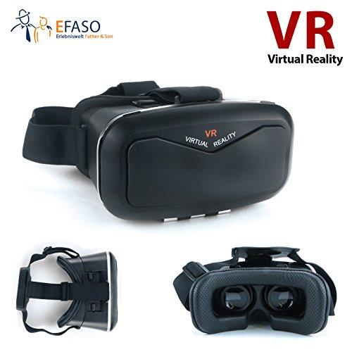 efaso TT-3DVRB4N - Virtual Reality VR 3D Brille für Smartphones von 4 bis 6.5 Zoll, Schwarz
