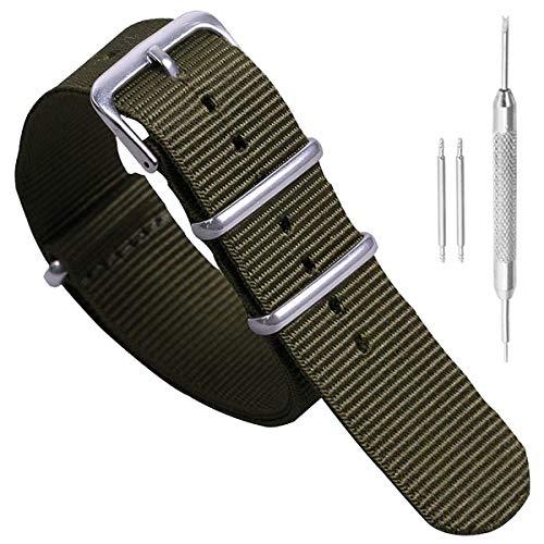22 millimetri verde dell'esercito di un pezzo comodo cinturini per orologi stile NATO nylon Perlon degli uomini impressionanti strisce di tessuto