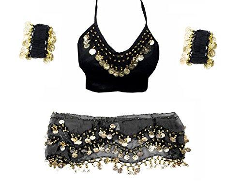 Fancy Steps Complete Belly Dance Belt Hip Scarf Wrap Belt Skirt Arm Cuff Wrist Bracelets with Bra Top, Black