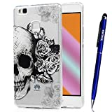 Cover Huawei P9 Lite, Yokata TPU Silicone Custodia Trasparente Crystal Clear Coque Soft Morbido Bumper Backcover Kawaii Cartoon Hülle Strane Case et Ultra Slim Protettivo Cover + 1*Penna Stilo - Cranio