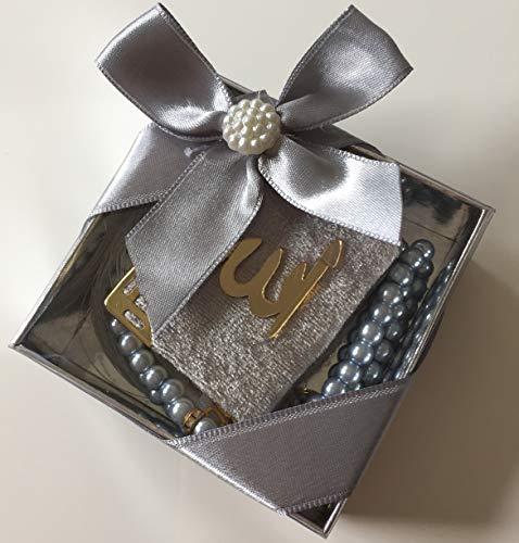 Mevlid Hatırası Mini Kuran & Inci Tesbih 99'lu süslü Kare Kutu Içinde (10 Adet) / Mini Koran & Gebetskette mit 99 Perlen in schöner Geschenkverpackung (10 Stück) (Silber)