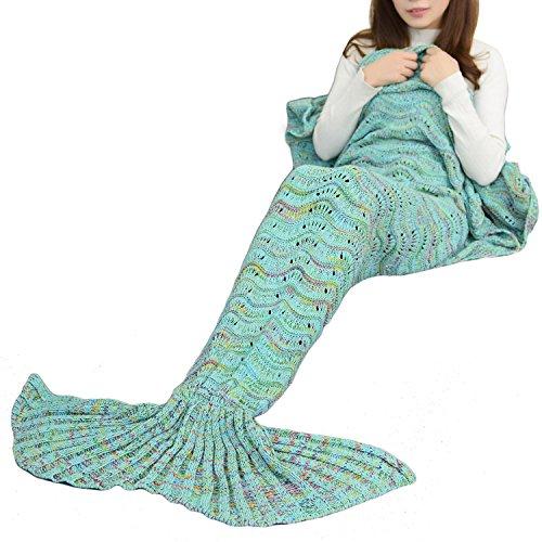 Icegrey Meerjungfrau Decke Handgemachte TV-Decke Weiche Meerjungfrau Decke Mit Flosse Für Erwachsene & Jugendliche Regenbogen Blau 180x90cm