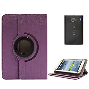 DMG Portable Foldable Stand Holder Cover Case for Micromax P480 (Purple) + 6600 mAh Three USB Port Power Bank