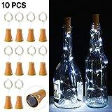 10pcs 10 LED Solar Weinflasche Kork Lichter Flaschenbeleuchtung 1 Meter 10 Lichter Cork Shaped Light Flaschenlicht String Starry LED Lichter für Flasche DIY,Party,Dekor(Kaltes Weiß)