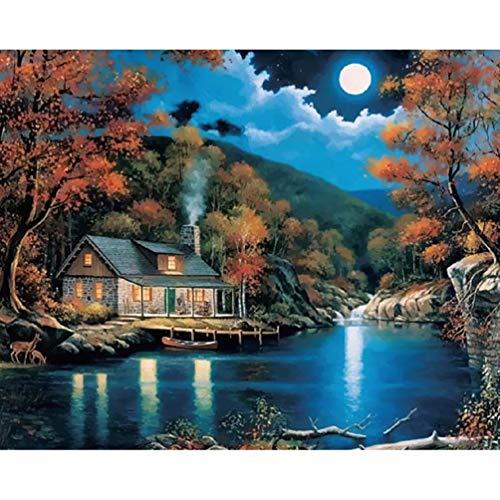 Wincy Shop Ölgemälde für Erwachsene, romantische See-Dorf-Szenerie, Malen nach Zahlen für Erwachsene - Strandkabine mit Boot und Sonnenuntergang, Lakeside Cabin Moon Night Scenery, Without Frame