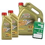 2x 1 L + 5 L = 7 Liter Castrol EDGE Titanium FST™ 5W-40 Motor-Öl inkl. Ölwechsel-Anhänger