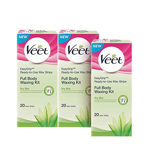 Veet Full Body Waxing Kit for Dry Skin - 20 Strips (Buy 2 Get 1 Free)