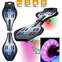 Brand Conquer Wave Board, Skate Board 31 x 8 Inch with Carry Bag LED Flash Colourful Lights on Wheels (Assorted Color)