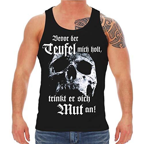 Life Is Pain Männer und Herren Trägershirt La Familia Bevor der Teufel Mich Holt trinkt er Sich Mut an (mit Rückendruck) Größe S - 8XL