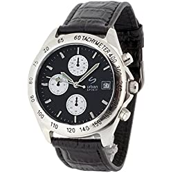 Urban Spirit Men's Quartz Watch with Multicolour Dial Chronograph Display and Black Leather Strap U100BAAR1