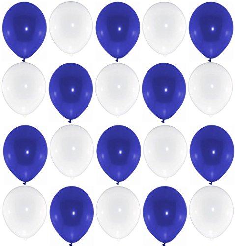 P&S events 50 Premium Luftballons 25 blau 25 weiß Markenqualität Helium Ballongas geeignet Naturlatex 100% giftfrei Geburtstagsparty Hochzeit Partyballon Bunte Ballons (Weiße Luftballons Und Blaue)