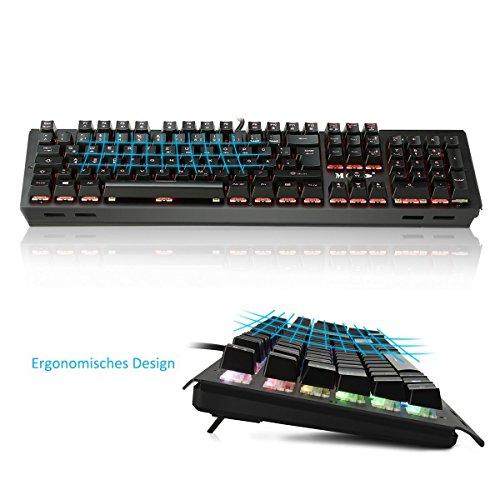Mechanische tastatur, MECO Gaming Tastatur Key-Click Tasten, RGB, Ergonomischen Design, QWERTZ-Layout, 100% Wasserdicht, 105 Tasten Anti-Ghosting, Macro Recorder Mechaniche Tastatur - 5