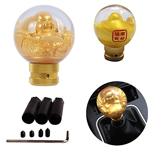 SMKJ Auto Schaltknauf Universal Schaltknüppel Gold Buddha Resin Shifter Knob für most Manuelles oder automatisches Getriebe Ohne RGA -