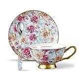 Panbado 3-teilig Porzellan 200 ml Kaffeetasse mit Untertasse Löffel, Floral