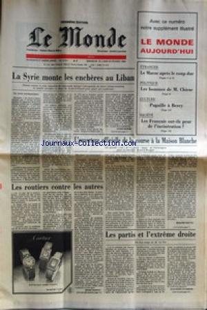 MONDE (LE) [No 12151] du 20/02/1984 - LA SYRIE MONTE LES ENCHERES AU LIBAN L'OUVERTURE OFFICIELLE DE LA COURSE A LA MAISON BLANCHE LES ROUTIERS CONTRE LES AUTRES LES PARTIS ET L'EXTREME DROITE