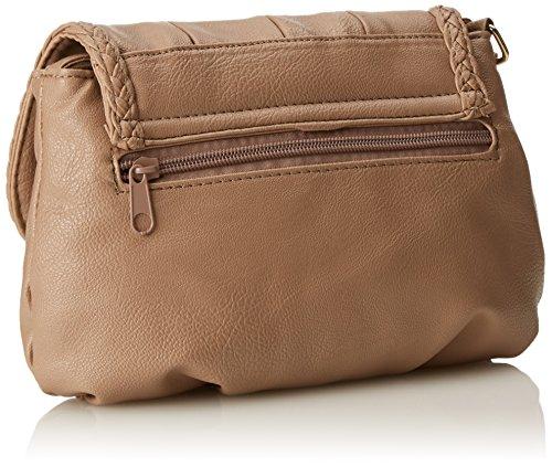 Kleine Damentasche Umhängetasche Citytasche bag Schultertasche Handtasche Clutch 23 x 14 cm (Schwarz) natur