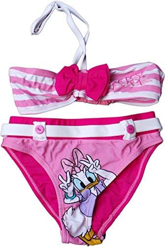 Daisy Bikini (Disney Daisy Duck Bikini - Daisys Schleife mit Streifen-Nietenoptik - Pink/Rosa/Weiß)