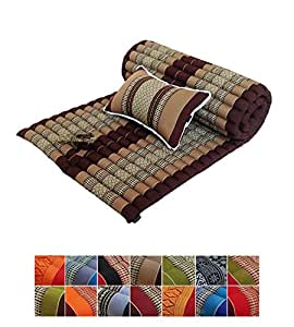 Traditional Thai Kapok Roll-Up Meditation Mattress with Matching Support Pillow for Yoga Massage ...