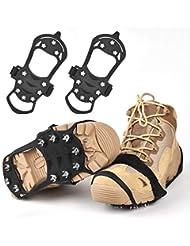 Huttoly Rutschfeste Schuhe Steigeisen, Schuhe Spike Edelstahl Nagel & Kieselgel Anti Rutsch Eisspikes für Den Stiefel, Schuhkralle