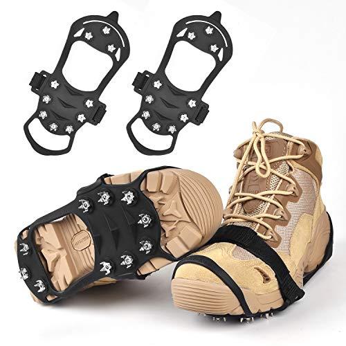Huttoly Schuhe Spike Rutschfeste Schuhe Steigeisen, Edelstahl Nagel & Kieselgel Anti Rutsch Eisspikes für Den Stiefel, Schuhkralle -