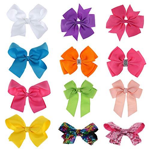 Hifot 12 pcs Haarschleifen Mädchen Kinder Haar Bögen Boutique Grosgrain Ribbon Hairbows Krokodilklemme Haarspangen ()