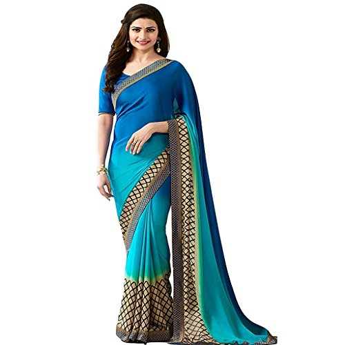 Z Fashion Prachi desai Blue chifon Printed Designer Saree