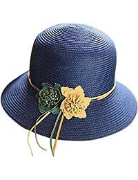 ZiXing Mujer Sombrero de Paja Panamá Gorra Plegable Sol Sombrero Canotier  de Vestir con Cinta y bd853ef249e