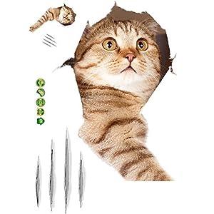 BOBORA Abnehmbare 3D-Cartoon-Tierkatzen Große Wandaufkleber Leicht zu schälen Leicht zu kleben Sicher auf bemalten…