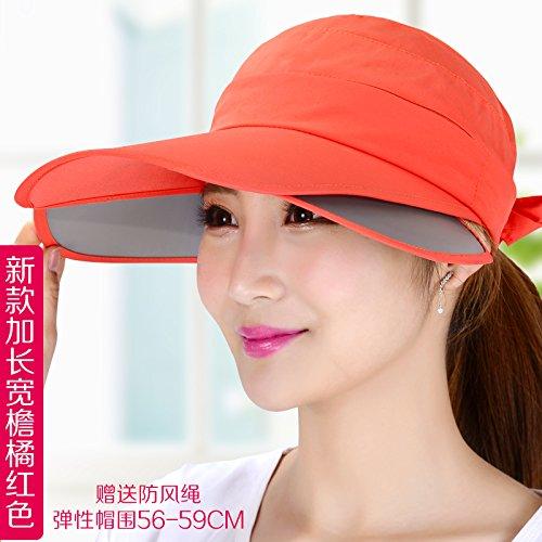 LLZTYM Été/Chapeau/Femme/Suncap/Chapeau De Soleil/Uv/Crème Solaire/Chapeau Haut De L'Air/Extérieur/Sport/Headgear/Cadeau Orange red
