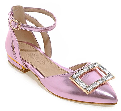 YE Damen Spitze Zehe Knöchelriemchen flach Pumps mit Schnalle Glitter Strass Sommer Sandalen süße Bequem Schuhe Lila