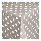 Wachstuch Tischdecke Wachstischdecke Gartentischdecke, Abwaschbar Meterware, Länge wählbar, Punkte Grau Weiß (150-07) 50cm x 140cm