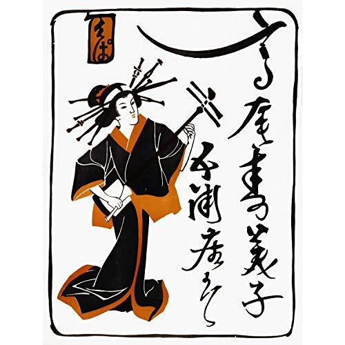 PAINTINGS PORTRAIT GEISHA LADY SHAMISEN MUSIC JAPAN NEW FINE ART PRINT POSTER PICTURE 30x40 CMS CC3688