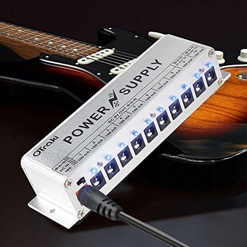 OTraki Effektgerät Netzteil 9V / 12V / 18V 10 Isolierte Ausgang Kurzschluss / Überstromschutz DC Power Supply Guitar Effect Pedal LED Geräuscharm Gitarreneffekt Universal Power Pedale Adapter