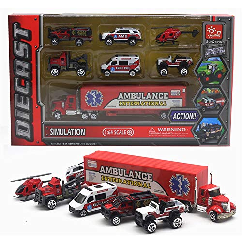 WDXIN Infantil Juguete Garaje Set Modelo de Coche de aleación Policía de...