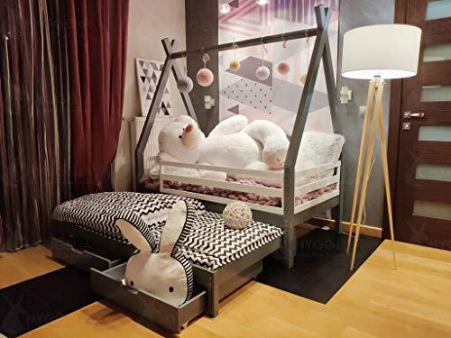 Hyggelia Tipi Bett mit Schutzbarrieren und Zwei Schubladen und Zwei Schubladen, Kinderbett, für Jugendliche, Schlafzimmermöbel,Hausbett, aus Holz (193 x 203 cm (King Size), Gemalt (Farbe wählen))