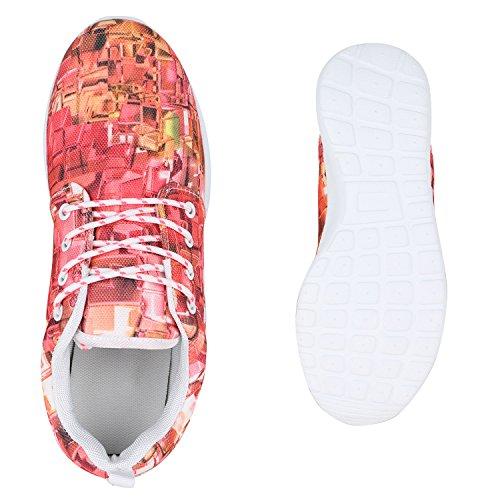 Damen Sportschuhe Muster |Laufschuhe Runners | Sneakers Schuhe Strass Metallic Pink Orange