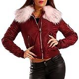 Damen Bomberjacke Gefüttert mit Kunstfellkragen Fliegerblouson Winter Jacke, Farbe:Bourdeaux/Rosa Fell;Größe:40/L