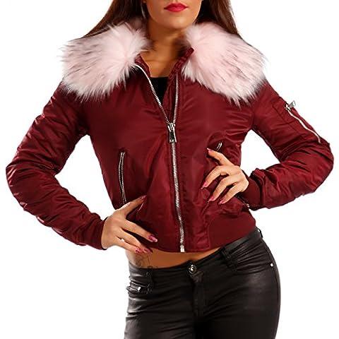 Damen Bomberjacke Gefüttert mit Kunstfellkragen Fliegerblouson Winter Jacke , Farbe:Bourdeaux/Rosa
