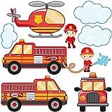 Bilderwelten Fenstersticker Feuerwehr-Set mit Fahrzeugen Kinderzimmer Fenstersticker Fensterfolie Fenstertattoo Fensterbild Fenster-Deko Fensteraufkleber Fensterdekoration Glas-Sticker Größe: 60cm x 60cm