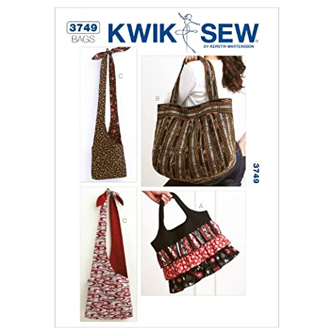 Kwik Sew Patterns K3749 Bags, Pack of 1, White