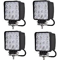 MCTECH 4 X 48W Quadrat LED Offroad Flutlicht Reflektor Scheinwerfer Arbeitslicht SUV, UTV, ATV Arbeitsscheinwerfer Zusatzscheinwerfer Offroad Scheinwerfer 12V 24V Rückfahrscheinwerfer