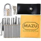 Mazu Lot de 15pièces Kit de crochetage de serrure, de déverrouillage Outil d'extraction clé et cadenas transparent d'entraînement