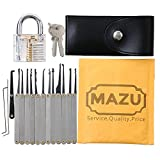 MAZU 15-Piece Unlocking Lock Pick Set Key Extractor Tool with Transparent Practice Padlock
