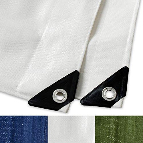 Telone occhiellato casa pura® | impermeabile e multiuso | Bianco | 3x4m, 260g/m²