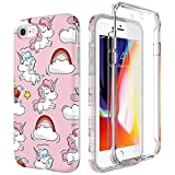 SURITCH Compatible con Funda iPhone 7/8 Silicona 360 Grados Unicornio Kawaii Ultra Fina Bumper Flexible TPU Delantera y Trasera Irrompible Anti Choque Caso Carcasa iPhone 8/7 - Rosa