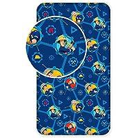 Jerry Fabrics Sábana para Niños, Diseño Fireman Sam, Algodón, Azul, Individual, 200x90x25 cm