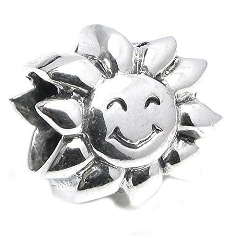 Queenberry Sterling Silber Sonne Happy Face Sunflower Europäischen Stil Perle
