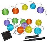 Unbekannt SOLAR - 10 tlg. Lichterkette Stoffball Laterne LED - Lampions fürs Außen und Innen - rosa grün gelb - Solarbetrieben Lampionkette Papierlaterne Laternen Lampi..