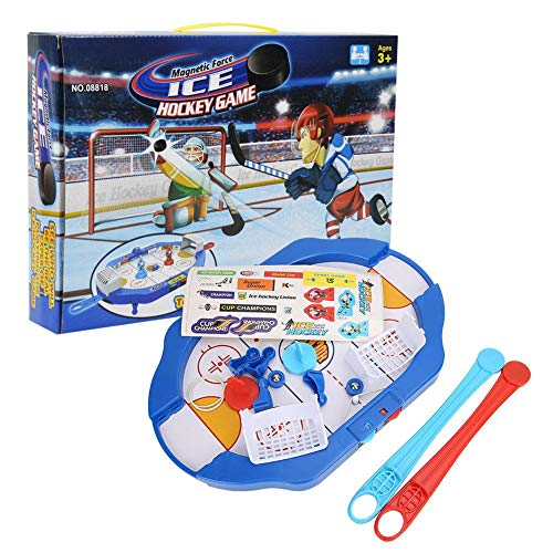 Alomejor Mini Air Hockey Fit auf Desktop Tabletop Kleine Tragbare Eishockey Tischreisespiele für Kinder Erwachsene Multiplayer Battle Game (Ice Hockey Tore)